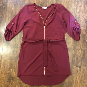 Zip Up Shirt Dress D28